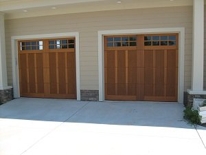 Residential wooden garage door